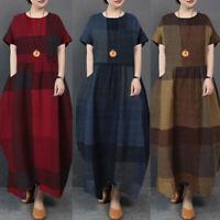 UK Womens Summer Short Sleeve Casual Loose Check Sundress Kaftan Maxi Long Dress