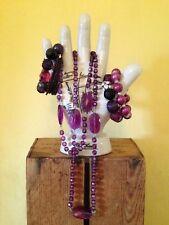 Job mix lot vintage deco look black purple diamante costume necklace bracelets