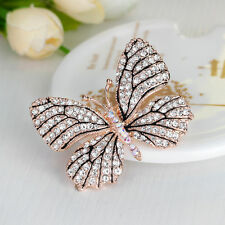 Full Rhinestone Crystal Gold Butterfly Brooch Pin Vintage Women Wedding Broach