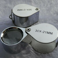 30x 21mm Jewelers Loupe Folding Pocket Jewelry Magnifying Glass Eye Magnifier
