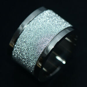 Big Sparkling Mens Womens Band Ring Stainless Steel Rings Man Jewelry Size 8