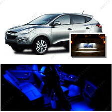 For Hyundai Tucson 2010-16 Blue LED Interior Kit + Xenon White License Light LED