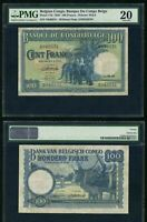 1949 Belgian Congo Bank One Hundred Francs Banknote P# 17d PMG VF 20 Elephants