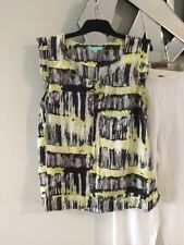 BLUE ILLUSION Lime Green Black White Short Cap Sleeve Top Blouse Linen S 8 10 12