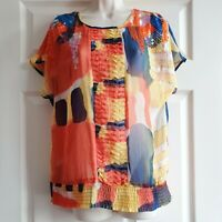 Brand New With Tags Et Vous Size 10 Sheer Multicolored Top Yellow Orange Green