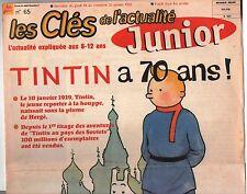Revue sur Tintin. Les Clés de l'Actualité JUNIOR. 20 janvier 1999. Tintin 70 ans