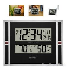 Black Jumbo Atomic Digital Wall Clock Home Office Indoor And Outdoor Temperature