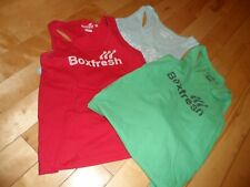 SET OF THREE BOXFRESH COTTON VEST SINGLET LIGHT BLUE RED GREEN SIZE S