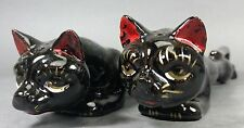 Stretch Cat Salt & Pepper Shakers ~ Black Retro/Mid Century Japan