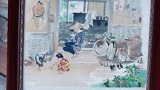 "BAKUFU OHNO JAPANESE ORIGINAL WOODBLOCK ""FAMILY SCENE "",SIGNED , RED SEAL"