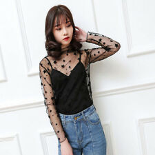 Ladies Stand Neck Summer See Through Tops Blouses Women Casual Star Shirts