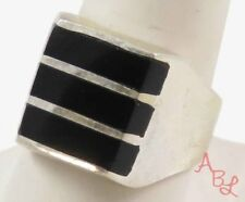Sterling Silver Vintage 925 Mexican Heavy Black Onyx Ring Sz 9.5 (16.4g) 745507