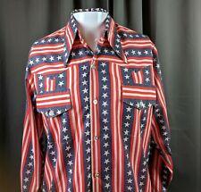 Vintage Patriotic Montgomery Wards Western Shirt Red White Blue Stars Stripes