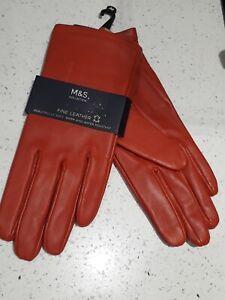 BNWT M&S Ladies Fine Leather Burnt Orange  Gloves - Size  Medium Lined