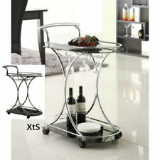 Rolling Bar Cart Modern Metal Vintage Beverage Tea Snack Serving Tray Furniture