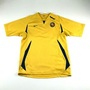 Nike Fit Dry Mens Yellow Club America Athletic Soccer Jersey M