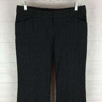 Express Editor womens size 6 stretch black pinstripe flat front bootcut pants