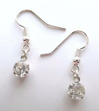 Hand Made Clear Round Rhinestone Faceted Stone Earrings HCE376
