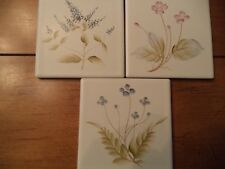 "3 Vintage Handpainted 3 5/8"" Tiles ~ Floral~Japan ~ACCENT/CRAFTS/BACKSPLASH"