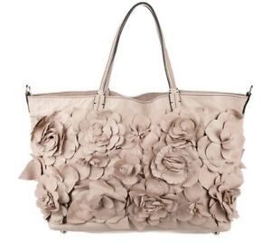 NWT VALENTINO NUDE LEATHER FLOWER EMBELLISHED TOTE BAG