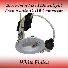 20 x 70mm White Fixed GU10 Recessed Downlight Frame Compatible to LED Globes