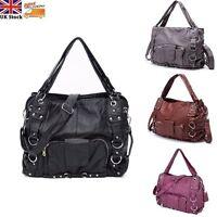 Women Washed PU Leather Handbag Purse Multi Pocket Shoulder Cross Body Bag Tote