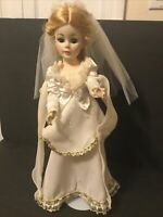 "White Bride Wedding Doll Dress-Ball Gown 18""-19""Bisque-Shirley-Plastic Doll(W12)"