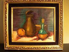 Original Oil Painting on Canvas signed by Artist TINNA Framed Vase and Bottle