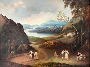 Manner of Jacob Philipp Hackert Antique Original Oil Painting Classical Lakeland