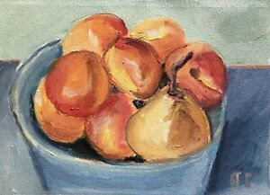 Still Life with Apricots and Pear original oil painting Impressionism