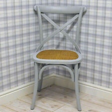 Traditional Grey Oak Chair Dining Room Cross Back Reproduction Bistro Style