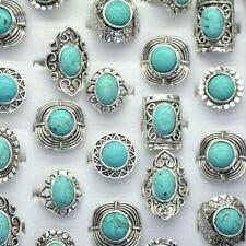 5Pcs Wholesale Mixed Bulk Lots Vintage Gemstone Siler P Turquoise Rings Jewelry