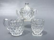 vintage Fostoria Glass Co. creamer, sugar bowl & spooner AMERICAN 1910s 1920's