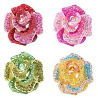 Crystal Rhinestone Rose Flower Brooch Pin Wedding Bouquet bride Women Jewelry