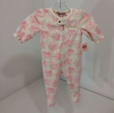 JUICY COUTURE INFANT GIRLS FOOTED BLANKET SLEEPER WHT/PINK 3-6M NWT $40