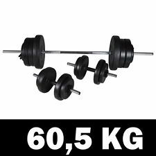 Barbell 2 Dumbbell Set 60 5Kg W/16 Weight Discs Workout Homegym Fitness