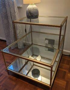 west elm Terrace Side Table, Antique Brass, Glass & Mirror, John Lewis