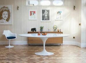 200cm x 120cm Oval White Laminate Tulip Dining Table - designed by Eero Saarinen