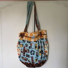 Camera Pattern Multi Color/Pattern Cotton Large Hobo Bag with Four Pockets