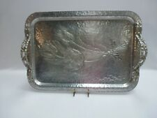 Vintage Hammered Aluminum Tray #408 Tulip By Rodney Kent Hand Wrought