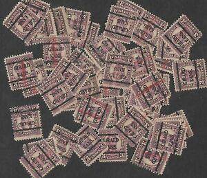 Postage Stamps 4 Crafting: 1920s 3c Lincoln, Girard KS Cancel; Purple; 50 Pieces