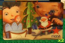 Macys 2013 Lenticular SANTA CLAUS XMAS GIFT CARD x2 Collectible Card No Value