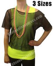Womens Retro 80s Black Mesh Net Vest Top M/L (8-16) Brand New
