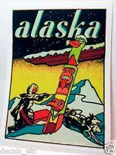 Alaska Dog Sled Vintage Style Travel Decal / Vinyl Sticker,Luggage Label