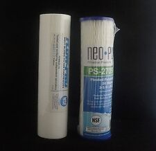 Twin pack Water Filter Cartridges 2.5 x 10 inch pleated 20 micron 5 micron spun
