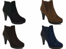 Ladies Suede Ankle Boots Low Mid Block Heels Chelsea Zip Up Shoes UK Sizes 7119