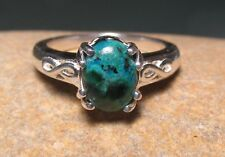Sterling silver cabochon teal CHRYSOCOLLA ring UK M½/US 6.5. Gift bag.
