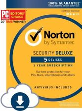 Norton Security Deluxe (5 Device) For PC/Mac/Mobile - 1 year subscription