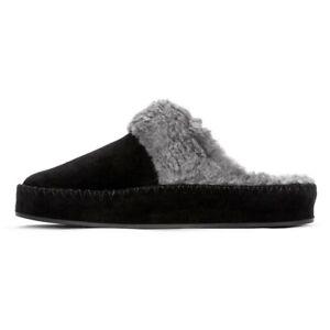Womens Vionic Marley Luxury Suede & Wool Slippers Black