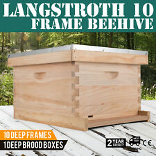 Langstroth 10-Frame Bee Hive 1 Deep Complete Box with 10 Deep Frames Beekeeping